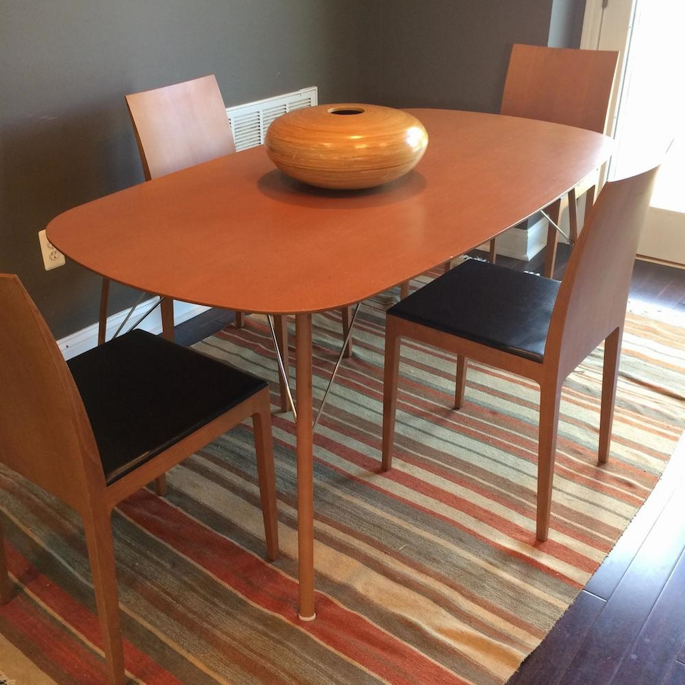 Red bank nj hulamarket modern kitchen table and chairs for Leather kitchen table chairs