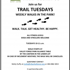Eastern Main Line, PA Events: Trail Tuesdays with the Valley Forge Park Alliance