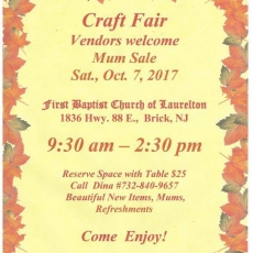 Ocean County North, NJ Events for Kids: Mum Sale and Craft FairVendors Welcome! Reserve space with tables for only $25 Call Dina to make your reservation at 732-840-9657  Beautiful New Items, Mums, and Refreshments. Come Enjoy!  We are accepting donations of coats and jackets for Your Grandmoth