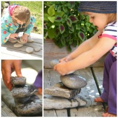 "Earth Day Fun '€"" Stone Stacking Challenge in the Nature PlayScape"