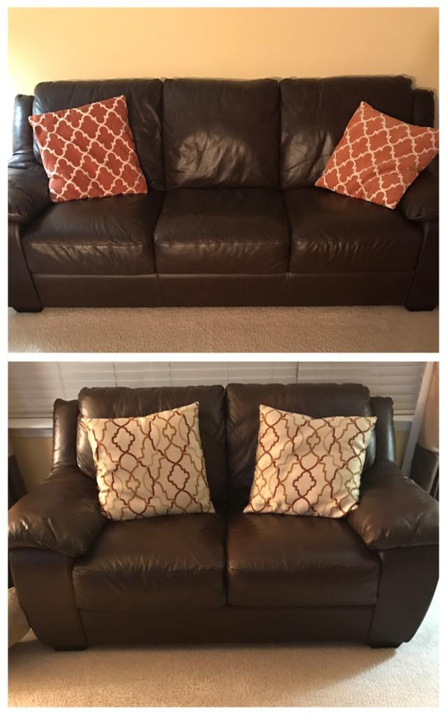 Brown Leather Couches Living Room Decor Red Accents: Brown Leather Sofa & Love Seat