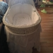 Pottery Barn White Bassinet with mattress and all bedding